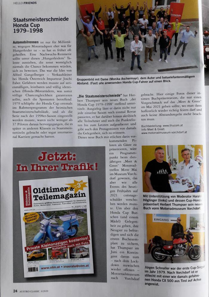 """In der Austro Classic 4/2020 wurde unsere """"kleine aber feine"""" Präsentation im Motorradmuseum Vorchdorf in Szene gesetzt."""