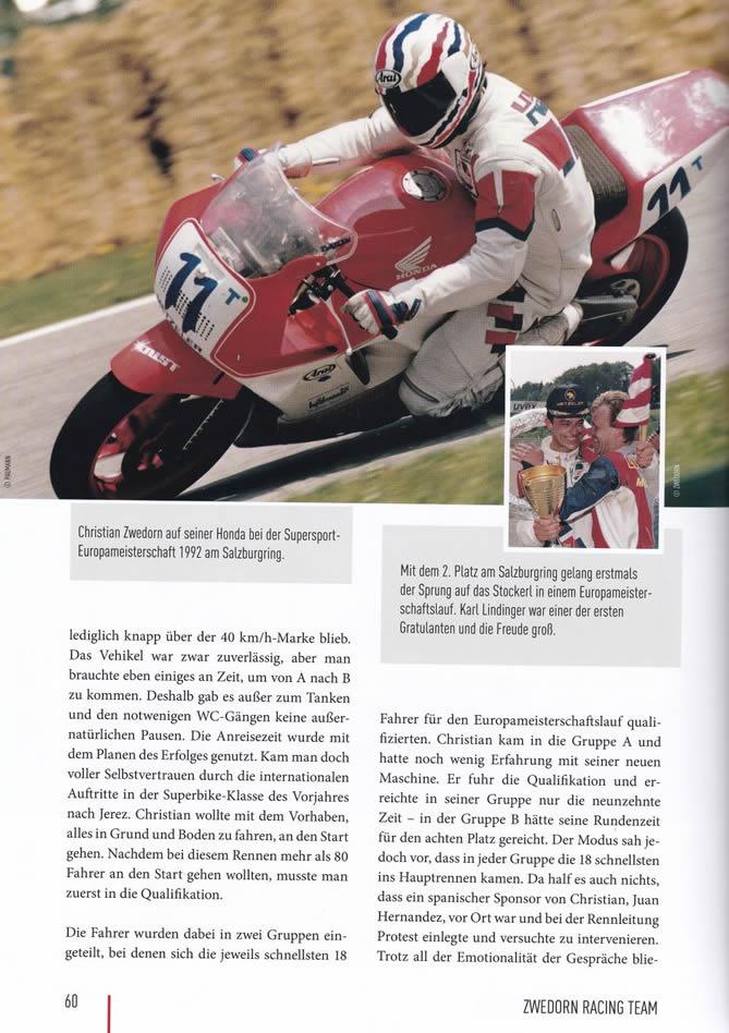 """Auszug Buch """"Legenden Des Motorradsports - Christian Zwedorn"""" Seite 60"""